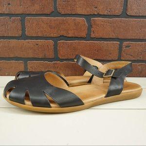 KORK-EASE Meegan Sandals Black Leather Size 12